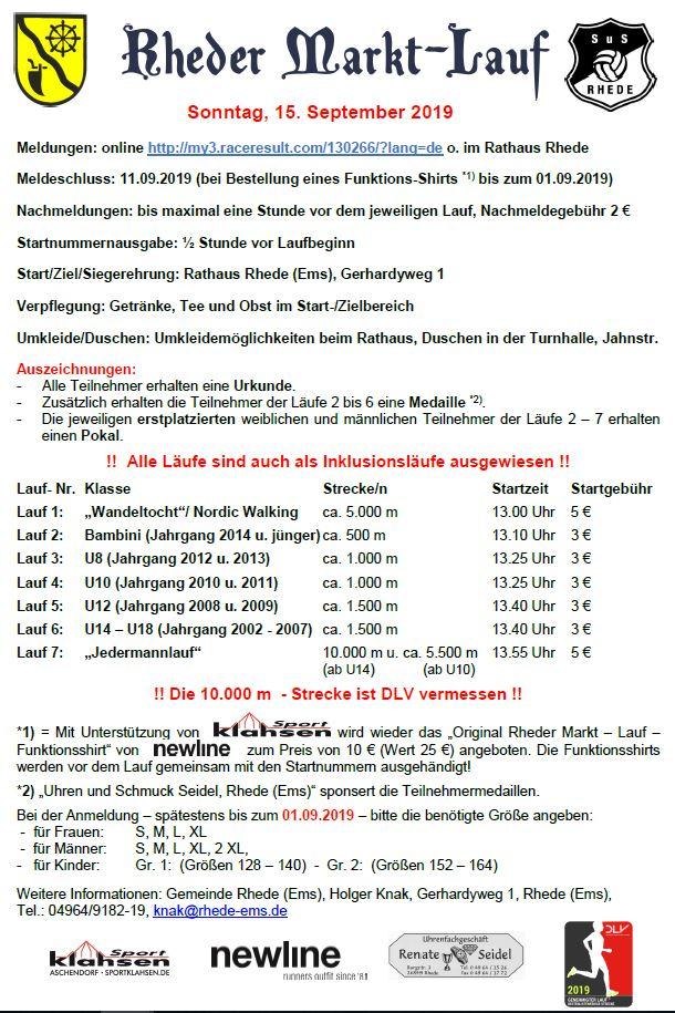 Ausschreibung Rheder Markt - Lauf 2019