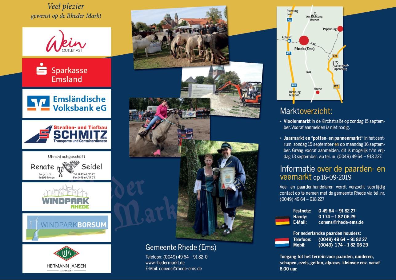 2019 Rheder Markt Flyer niederländisch Rückseite