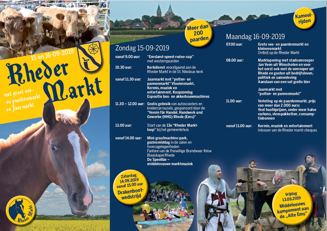 2019 Rheder Markt Flyer niederländisch Vorderseite
